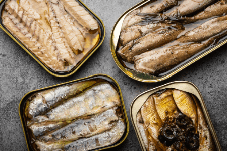 assortment of canned fish